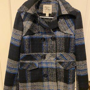 Maralyn & Me Double Breasted Plaid Pea Coat Size Hooded LARG